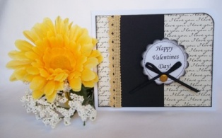 make greeting card - valentines cream and black