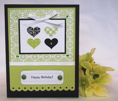 make your own birthday card green hearts