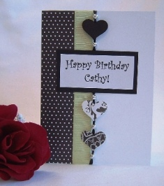 hand made card green black