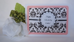 home made greeting cards birthday pink black