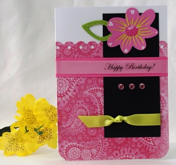 make birthday card pink with flowers