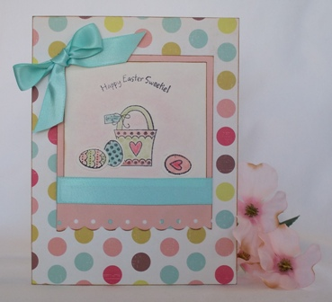 easter card designs basket and easter eggs