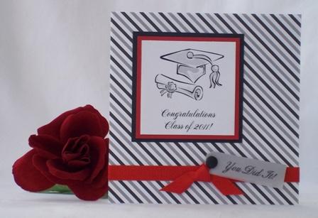 handmade graduation card red black