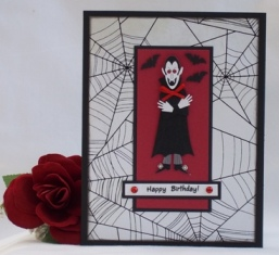 halloween birthday card dracula red black white