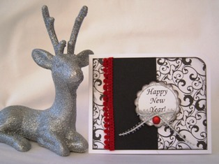 greeting card ideas new year red black