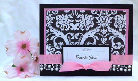 handmade card thank you pink black