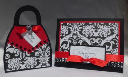 Purse Card Red Black White And 50th Birthday Party Invitation