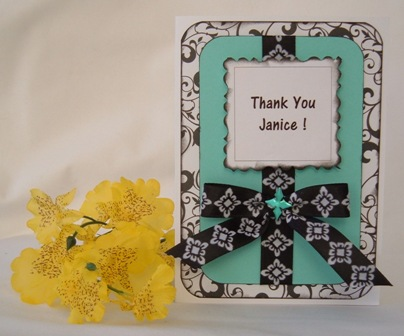 handmade thank you cards teal black