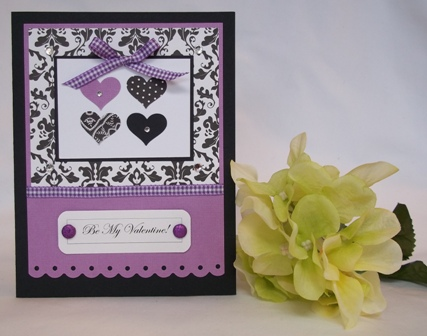 handmade valentine cards purple hearts