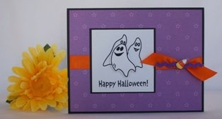 handmade halloween card ghosts purple orange