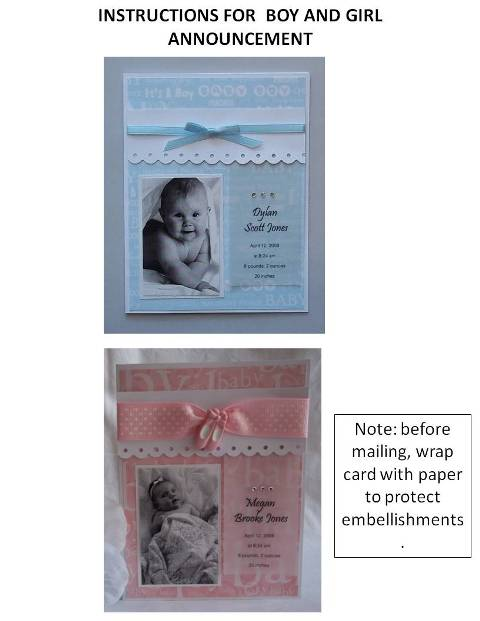 new baby card instructions