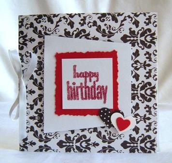 Handmade Birthday Card - Red Black and White