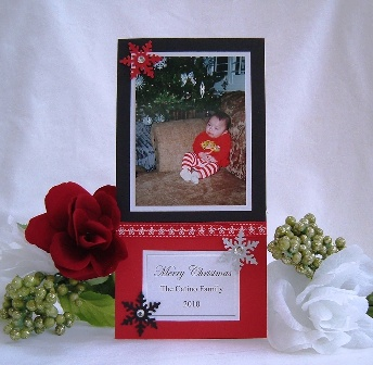 Christmas Photo Card Ideas Black Red Scene