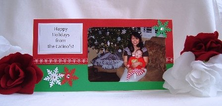 Christmas Photo Card Ideas Red Green Snowflake
