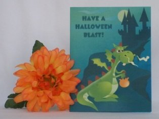 handmade halloween card dragon green
