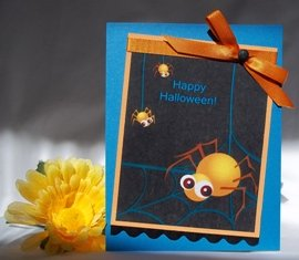 handmade halloween card spider blue orange