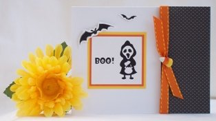 handmade halloween card skeleton boo