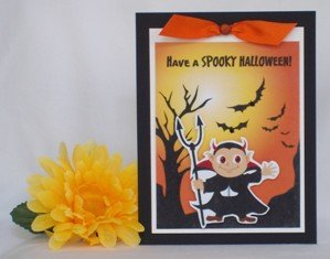 unique halloween cards orange with vampire